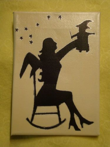 "SALE** was £7.50 Mummy Witch & Baby Witchling/ Wizard Box Canvas  Wall Hanging Wicca Pagan Occult 7"" x 5 "" Unique Handcrafted OOAK"